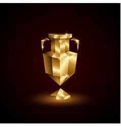 Golden low poly euro football cup vector