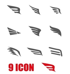 Grey wing icon set vector