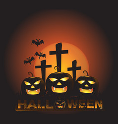 Halloween background with three pumpkin ghost vector