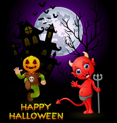 halloween pumpkin costumes with a devil on haunted vector image