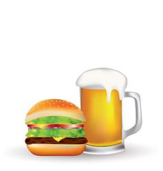 hamburger and beer vector image