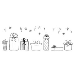 Hand drawn gift boxes long banner seamless vector