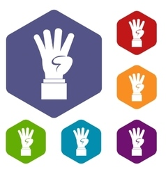 Hand showing number four icons set vector image