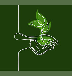 hands palms together with growth plant vector image
