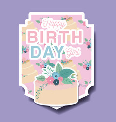 happy birthday card with floral decoration and vector image