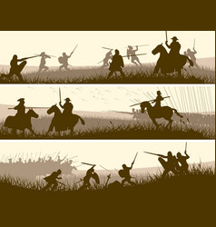 Horizontal banners of medieval battle vector
