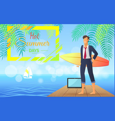 hot summer days businessman vector image