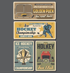 ice hockey players sticks pucks and trophy cup vector image