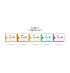 Infographics rectangle paper index with arrow 5 vector