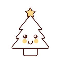 kawaii christmas tree pine decoration cartoon vector image