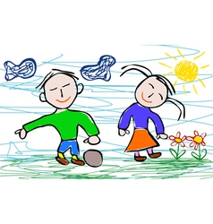 Kids drawing style of boy and girl vector image