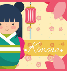 Kokeshi japanese national doll in a green kimono vector