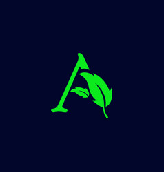 Letter a leaf nature eco green logo template vector