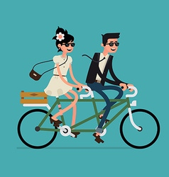 Man and Woman on a Tandem Bike vector image