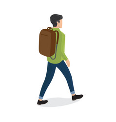 Man in shirt blue trousers with backpack back view vector