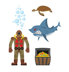 Marine set a diver and shark Sea turtle and vector image