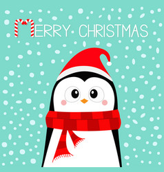 merry christmas penguin wearing santa claus red vector image