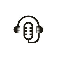 Minimalist podcast logo design vector