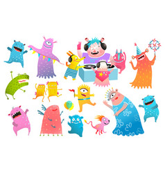 Monster dj dancing creatures disco party clipart vector
