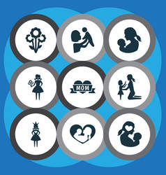 mothers day icon design concept set of 9 such vector image