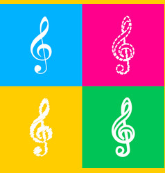 music violin clef sign g-clef treble clef four vector image