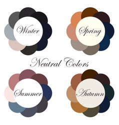 Neutral colors seasonal color analysis palettes vector