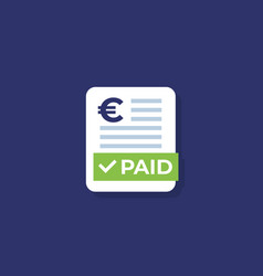 paid bills icon with euro vector image