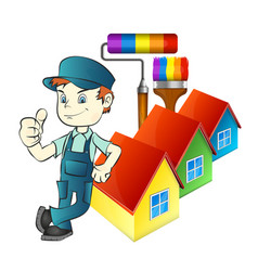 Painter with tools and at home vector