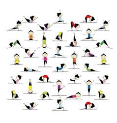 People practicing yoga 25 poses for your design vector