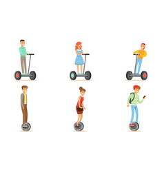 people riding self balancing scooters with one or vector image
