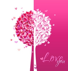 Pink and white love tree vector