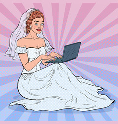 pop art bride with laptop woman in wedding dress vector image