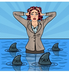Pop art businesswoman swimming with sharks vector