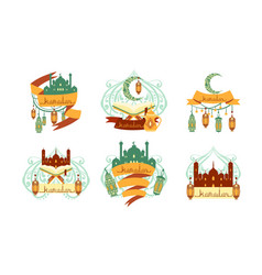 ramadan kareem labels set islamic holy holiday vector image