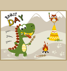 roast day with funny animals cartoon vector image