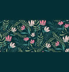 romantic exotic flowers seamless floral pattern vector image