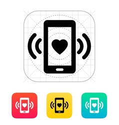 Romantic phone call icon vector