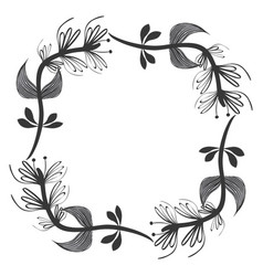rustic square branches plant design vector image