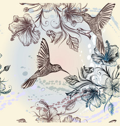 Seamless wallpaper pattern with birds and flowers vector