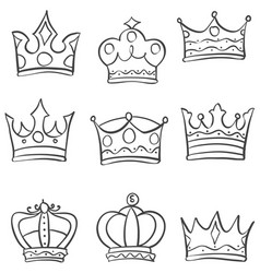 Set crown various style doodles vector