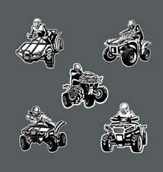 Set five one color quad bikes in different vector