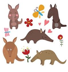 Set funny aardvarks vector