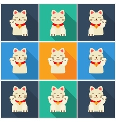Set Maneki-neko cat flat vector image