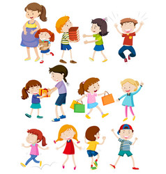 set of people doing activity vector image