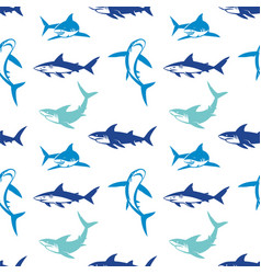 Sharks silhouettes seamless pattern vector