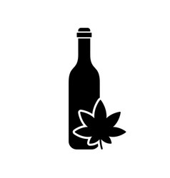 silhouette bottle with cannabis leaf outline oil vector image