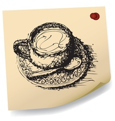 sketch drawing of coffee on sticky paper vector image