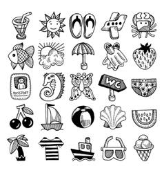 Sketch icon set of summer theme vector