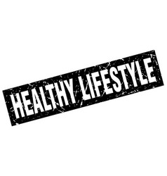 Square grunge black healthy lifestyle stamp vector