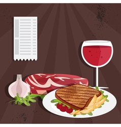 steak house with meat and wine vector image
